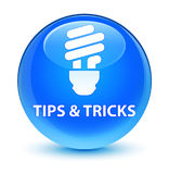 Tips and tricks (bulb icon) glassy cyan blue round button Royalty Free Stock Images