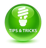 Tips and tricks (bulb icon) glassy green round button Royalty Free Stock Photography
