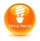 Tips and tricks (bulb icon) glassy orange round button Stock Photo