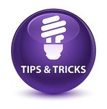 Tips and tricks (bulb icon) glassy purple round button. Tips and tricks (bulb icon) isolated on glassy purple round button abstract illustration Royalty Free Stock Photos