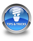 Tips and tricks (bulb icon) glossy blue round button Royalty Free Stock Photos