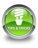 Tips and tricks (bulb icon) glossy green round button Royalty Free Stock Photos