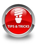 Tips and tricks (bulb icon) glossy red round button. Tips and tricks (bulb icon)  on glossy red round button abstract illustration Royalty Free Stock Photo