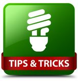 Tips and tricks (bulb icon) green square button red ribbon in mi Royalty Free Stock Photo