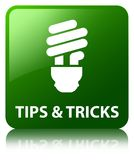Tips and tricks (bulb icon) green square button Royalty Free Stock Photography