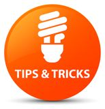 Tips and tricks (bulb icon) orange round button. Tips and tricks (bulb icon) isolated on orange round button abstract illustration Stock Images