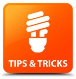 Tips and tricks (bulb icon) orange square button. Tips and tricks (bulb icon) isolated on orange square button abstract illustration Stock Image