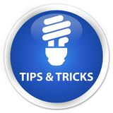 Tips and tricks (bulb icon) premium blue round button Stock Photography