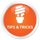 Tips and tricks (bulb icon) premium orange round button Royalty Free Stock Image