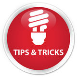 Tips and tricks (bulb icon) premium red round button Stock Photos
