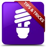 Tips and tricks (bulb icon) purple square button red ribbon in c Stock Photography