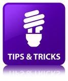 Tips and tricks (bulb icon) purple square button Royalty Free Stock Images