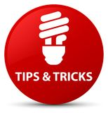 Tips and tricks (bulb icon) red round button. Tips and tricks (bulb icon) isolated on red round button abstract illustration Royalty Free Stock Image