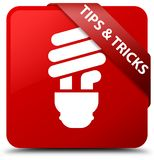 Tips and tricks (bulb icon) red square button red ribbon in corn Stock Image