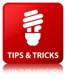 Tips and tricks (bulb icon) red square button. Tips and tricks (bulb icon) isolated on red square button reflected abstract illustration Stock Image