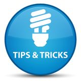 Tips and tricks (bulb icon) special cyan blue round button Stock Image
