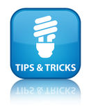 Tips and tricks (bulb icon) special cyan blue square button Royalty Free Stock Images