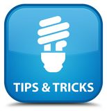Tips and tricks (bulb icon) special cyan blue square button. Tips and tricks (bulb icon) isolated on special cyan blue square button abstract illustration Stock Photography