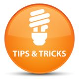 Tips and tricks (bulb icon) special orange round button. Tips and tricks (bulb icon)  on special orange round button abstract illustration Royalty Free Stock Images