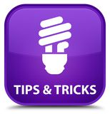 Tips and tricks (bulb icon) special purple square button. Tips and tricks (bulb icon)  on special purple square button abstract illustration Stock Photo