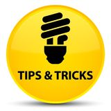 Tips and tricks (bulb icon) special yellow round button. Tips and tricks (bulb icon)  on special yellow round button abstract illustration Royalty Free Stock Images