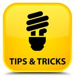 Tips and tricks (bulb icon) special yellow square button. Tips and tricks (bulb icon) isolated on special yellow square button abstract illustration Stock Photos