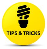 Tips and tricks (bulb icon) yellow round button. Tips and tricks (bulb icon) isolated on yellow round button abstract illustration Stock Images