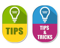 Tips and tricks with bulb symbols, two elliptical labels. Tips and tricks with bulb symbols, two elliptic flat design labels with icons, business support concept Royalty Free Stock Photography