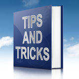 Tips and tricks concept. Illustration depicting a book with a tips and tricks concept title. Sky background Royalty Free Stock Images