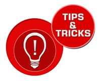 Tips And Tricks Red Circles. Tips and tricks concept image with text and related symbol Royalty Free Stock Photo