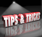 Tips Tricks 3d Words Spotlight Helpful How to Information Advice. Tips and Tricks words in 3d letters under a spotlight to illustrate finding helpful how-to stock illustration