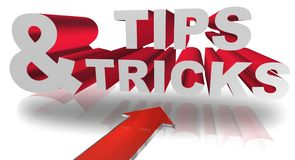 Tips and tricks graphics. Red and white 3D text graphics tips and tricks with directional arrow Stock Photos