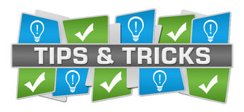 Tips And Tricks Green Blue Squares Top Bottom Royalty Free Stock Photography