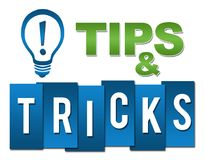 Tips And Tricks Professional Green Blue With Symbol. Tips and tricks concept image with text and related symbol Royalty Free Stock Image