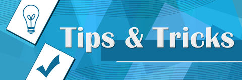 Tips And Tricks Random Shapes Blue Background Royalty Free Stock Images