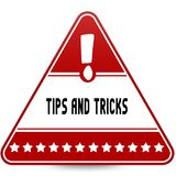 TIPS AND TRICKS on red triangle road sign. Illustration Royalty Free Stock Images