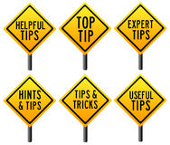 Tips and tricks. Signs for helpful and useful tips, hints and tricks Royalty Free Stock Image