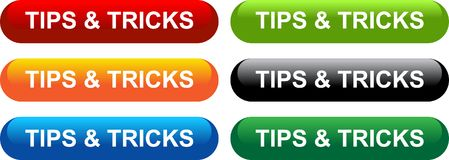 Tips and tricks. Tips web button icon on isolated white background - vector illustration Royalty Free Stock Images