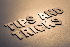 Tips and Tricks. Topic in wood letters stock photos