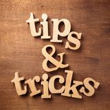 Tips and tricks wood alphabet stock photos