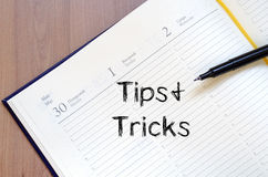 Tips and tricks write on notebook Royalty Free Stock Image
