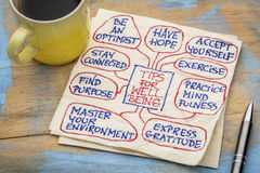 Tips for well being on napkin royalty free stock photo