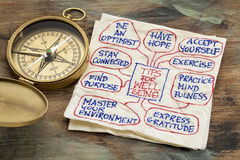 Tips for well being. Tips for well-being - a napkin doodle with a vintage brass compass stock image