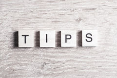 Tips word concept Stock Photography