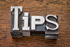 Tips word in metal type Stock Photo