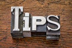 Tips word in metal type Stock Photo