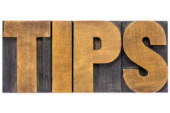 Tips word typography Royalty Free Stock Photography