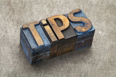 Tips word in wood type Stock Images