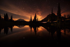 Tipsoo lake reflections during the night stock image