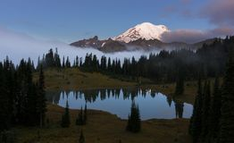 Tipsoo Lake at Sunrise in Mt Rainier NP Royalty Free Stock Photography